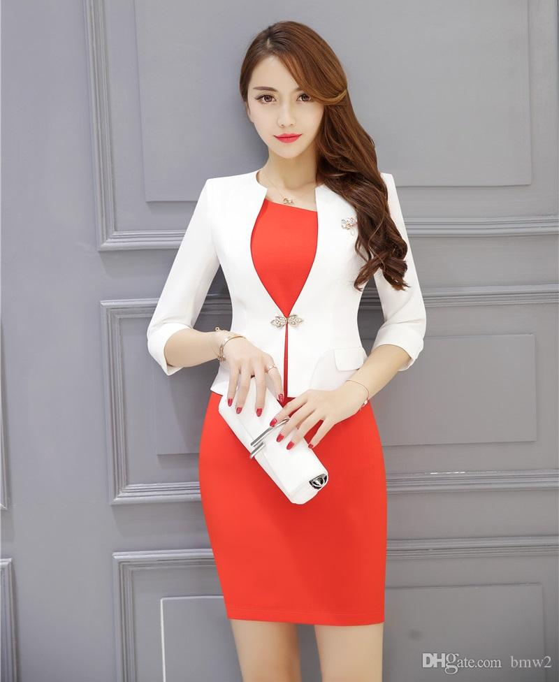 2019 Formal Ladies Dress Suits For Women Business With And Jacket
