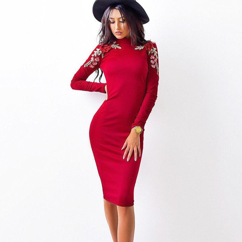 536f31d6535 Großhandel 2017 Herbst Mode Frauen Engen Dress Casual Oansatz Langärmelige  Appliques Kleider Sexy Bodycon Verband Knielangen Bleistift Dress D19011601  Von ...