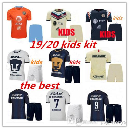 19 20 LIGA Mexico Club America UNAM third kids kit soccer Jerseys 2019 2020 Club America orange child soccer Jerseys Custom sales