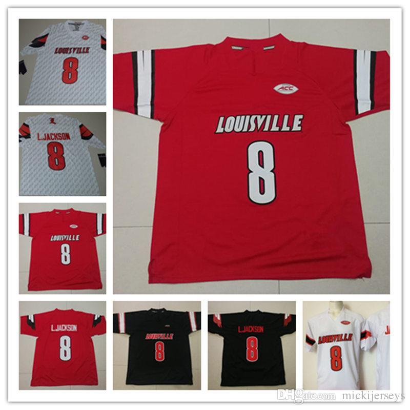 Mens NCAA Louisville Cardinals Lamar Jackson College Football Jerseys  Stitched White Red Black  8 Lamar Jackson Jersey S 3XL UK 2019 From  Mickijerseys fa421b0b6