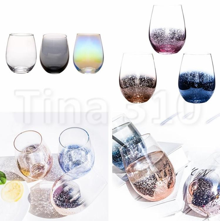 New Lead-free Crystal Egg Cup Wine Glass Tumbler Modern Large Capacity Ion-plated Rainbow Transparent Household cups 4760