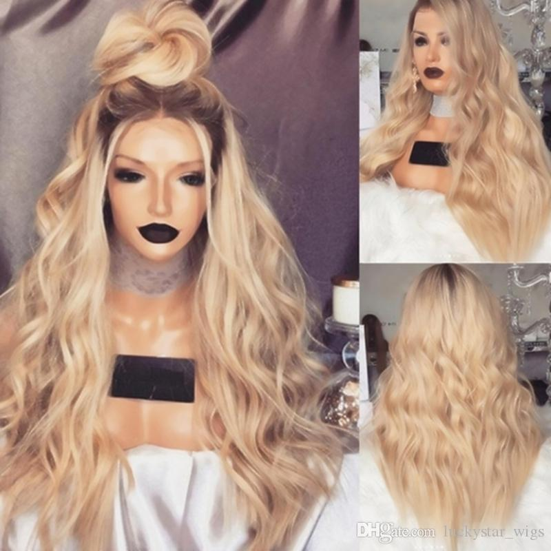 Light Brown Roots Heat Resistant Hair Ombre Blonde Wig Natural Wavy