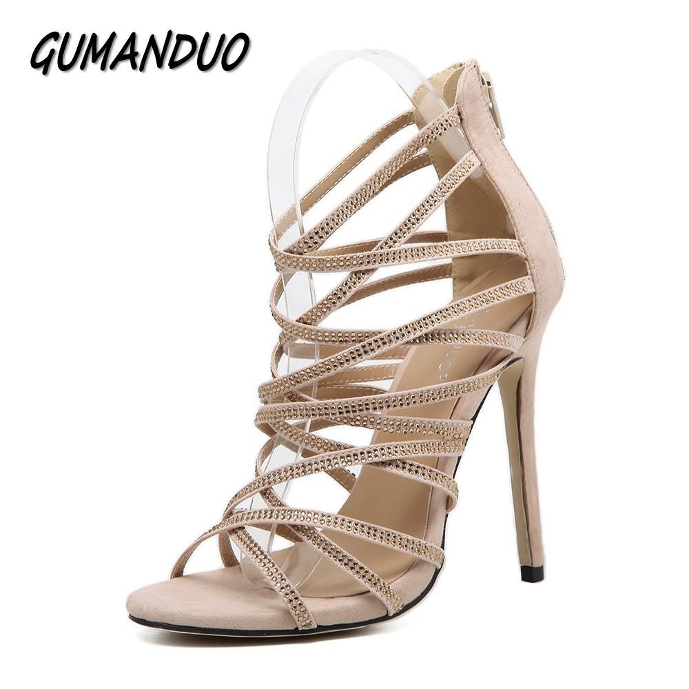 ffd196de0270 Dress Gumanduo New Sexy Women Gladiator High Heels Sandals Shoes Woman Peep  Toe Rhinestone Cut Outs Party Wedding Stilettos Shoes Boat Shoes For Men  Navy ...