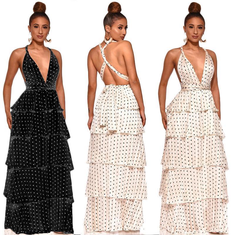 cfab6c45fbb70 Wish 2019 Women's Clothes Sandy Beach Disturbance Spot Sexy Lotus Leaf Edge  Dress