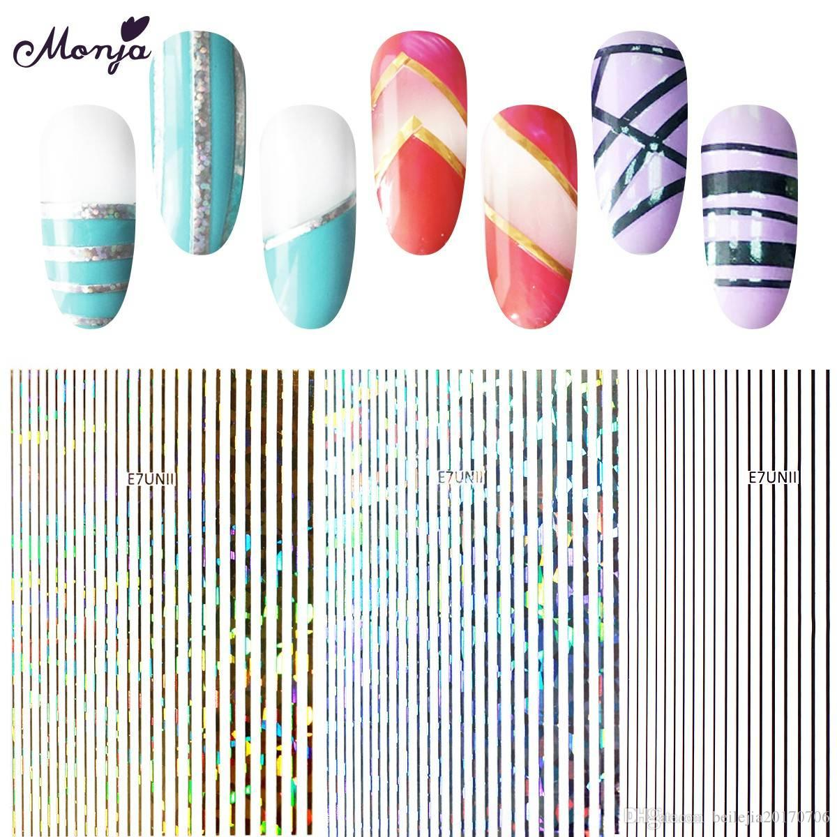 Monja 5 Colors Nail Art Gold Lines Strip Metal Foil Decals Stickers Wraps  Adhesive DIY Decoration Accessories