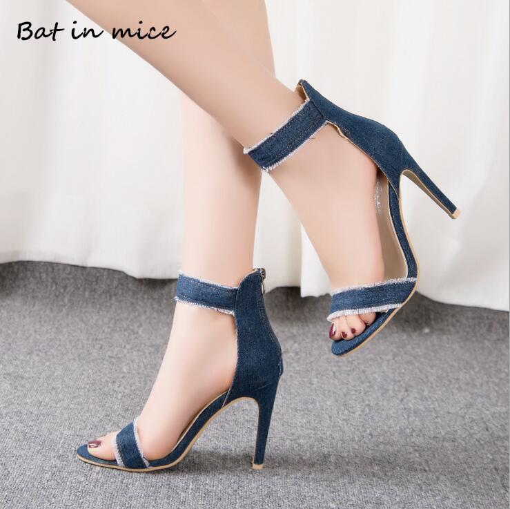 Dress Shoes Fashion Women Sandals Classics Pumps Thin High Heels Woman Denim Rome Zip denim High-heeled Sexy Stiletto Party New W014