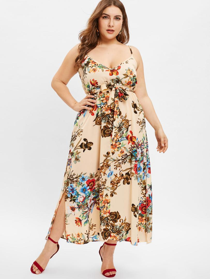 6afcf0c5d45 Kenancy Plus Size Floral Print Slip Bowknot Dress Women Sleeveless  Spaghetti Strap Deep V Neck Tunic Belted A Line Party Dress Tight White  Dresses For ...