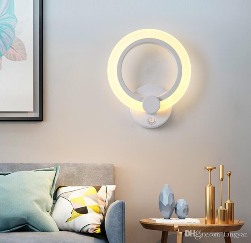 Creative Wall Lamp Bedroom Bedside Lamp With Switch Livingroom Aisle Leaves Oval Acrylic Room Led Wall Painting Bedside Lamp
