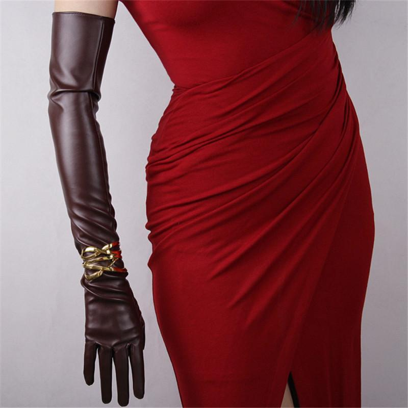 Ultra Long Leather Gloves 60cm Long Emulation Genuine Leather PU Gloves Female Unlined Women PU P15