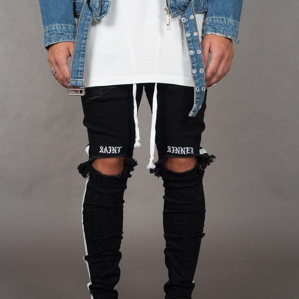 dc74e9ab Trendy Men's Ripped Jeans Knee Holes Skinny Slim Fit Denim Pants Destroyed  Frayed Trousers Fashion Design Side Stripe Black Jean Q190417