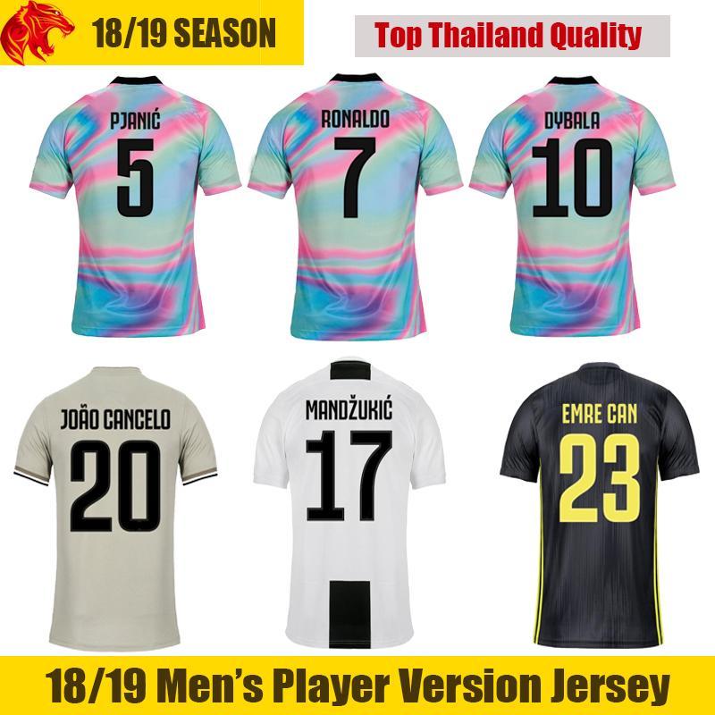 half off 6f9e9 cab54 18 19 RONALDO Soccer Jersey JOAO CANCELO EA Sports 2018 2019 DYBALA Jersey  EMRE CAN PJANIC Football Shirt MANDZUKIC Soccer Shirt