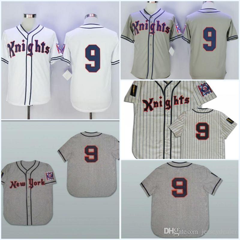 9897be61959 Men 1939 York Knights Road 9 ROY HOBBS Baseball Jersey Stitch Sewn 9 ...