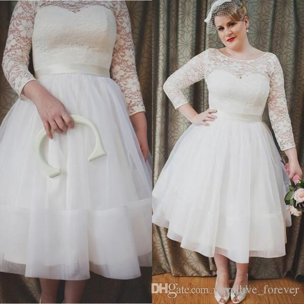Discount Newest 2019 Plus Size Wedding Dresses A Line Sheer Neck ...