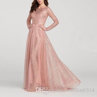 c172e9f63c7 In Stock Hot 2019 European New Style Ladies Dress   Explosion Models  Bridesmaid Round Neck Long Sleeve Slim Sequin Evening Dress Maxi Dresses Uk  Mermaid ...