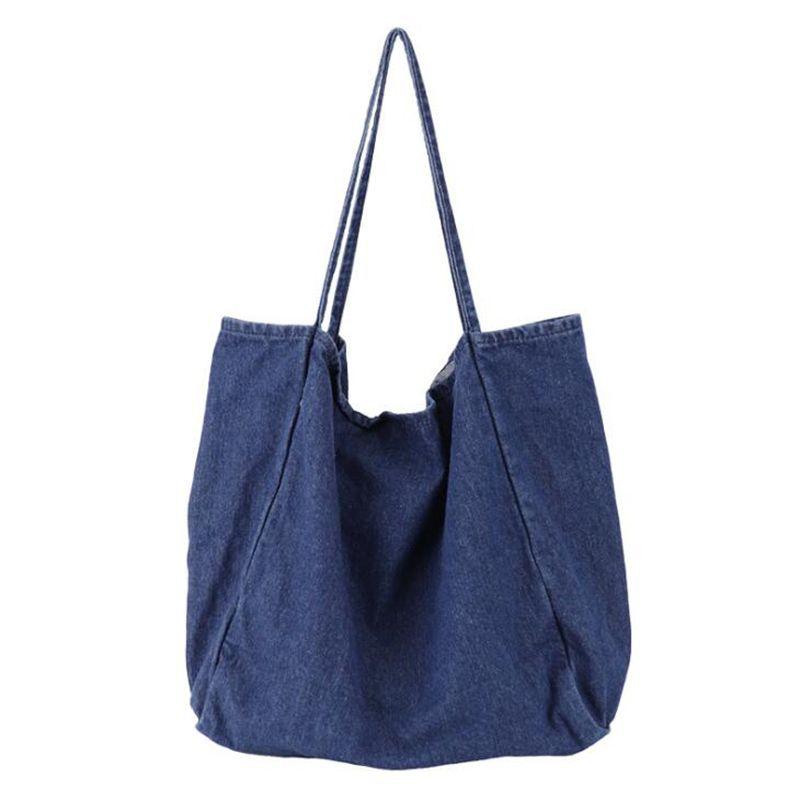 439f486772b6 2019 Fashion 2018 Big Bag Denim Blue Shoulder Bags Tote High Quality Large  Capacity Handbag Denim Fabric Cloth Bag Solid Color Women Handbag Handbags  Purses ...