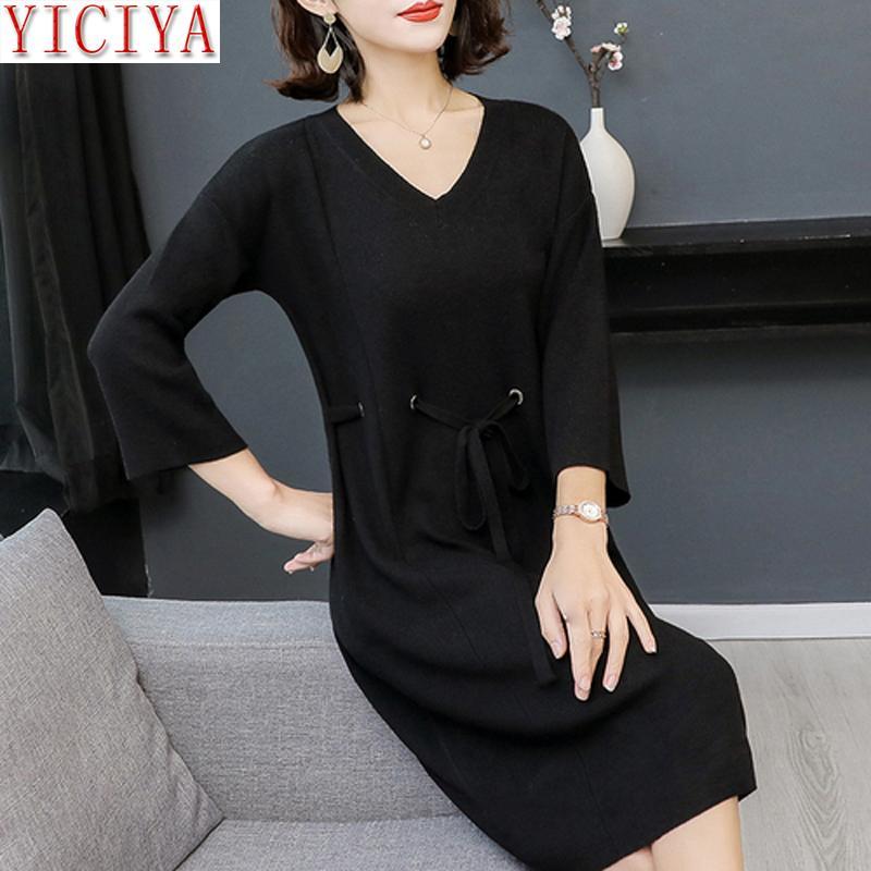 new style 3b0ec 6b389 Schwarzer Pullover gestrickt T-Shirt Kleid Frauen plus Größe Langarm Winter  Herbst Runway große Kleider dünne elegante Kleidung stricken