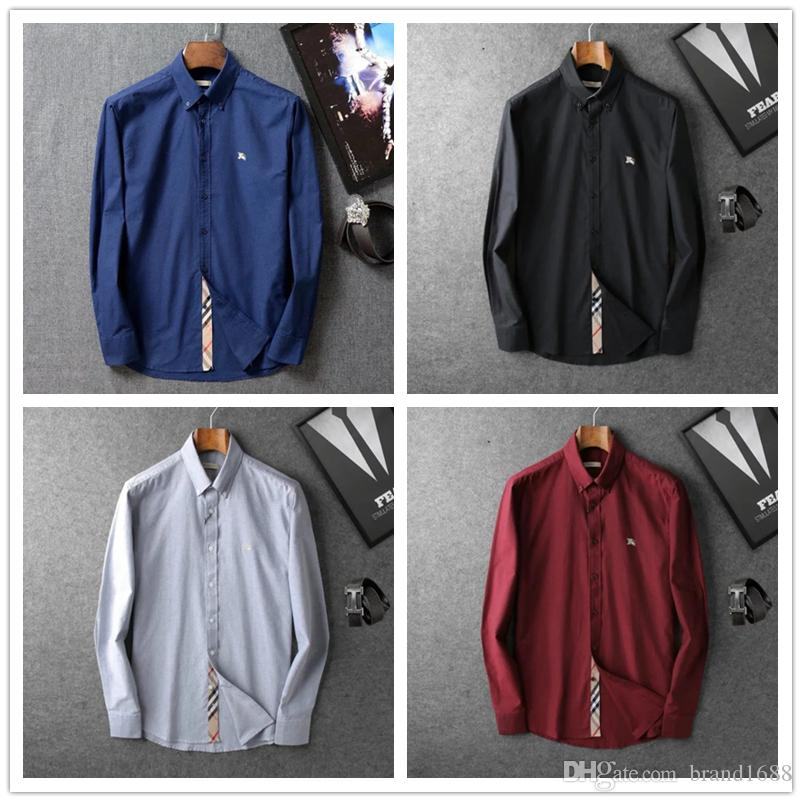 2019 new Italy Mens Slim Fit Shirt Long Sleeve Dress Shirts Casual Formal Business Shirts Solid Brand Clothing camisa social masculina M-2XL