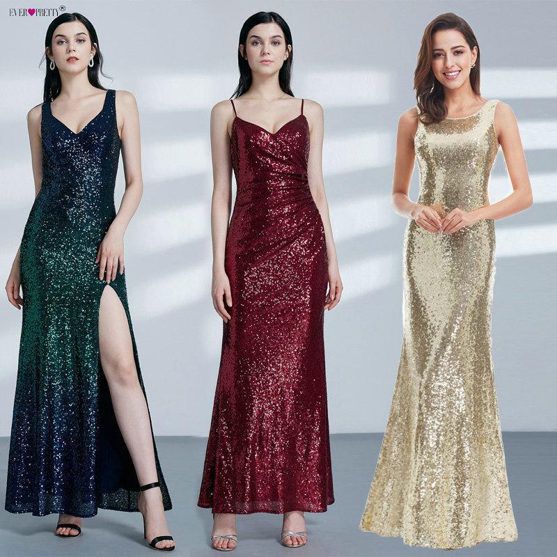 36965b32a Vestido de noche largo dorado Alguna vez atrás Cuello capucha Ep07110gd  Brillo de lentejuelas Brillo Mujeres elegantes 2019 Vestidos de fiesta de  ...