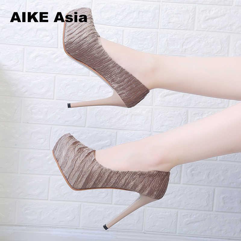 267a773720 2019 Women Pumps Fashion Classic Patent Leather High Heels Shoes Nude Sharp  Head Wedding Dress Plus Size 34-42 Platform