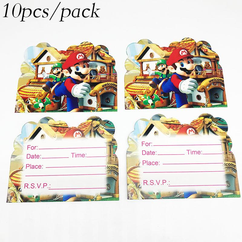 10pcs/pack Super Mario theme cards Super Mario theme birthday party  decorations party invitations