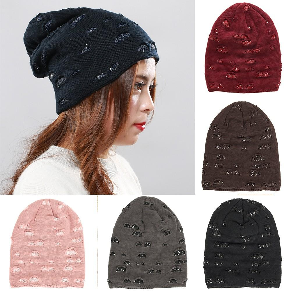 28d2098b4f8 2019 Men And Women Autumn Winter Sequin Knitted Hats Indoor Plus Warm Wool  Knit Caps From Gqinglang