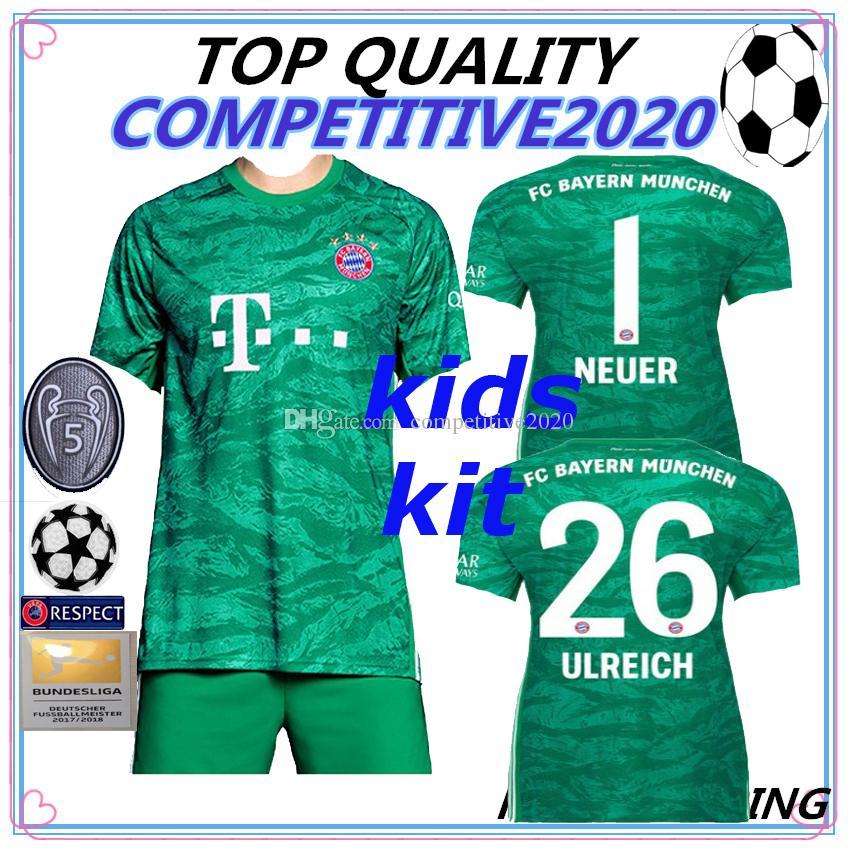size 40 c143d a103a KIDS KIT Bayern Munich Jersey 19 20 Home Goalkeeper green HUMMELS  LEWANDOWSKI JAMES TOLISSO MULLER 2019 2020 shirt THIAGO 1 NEUER FOOTBALL
