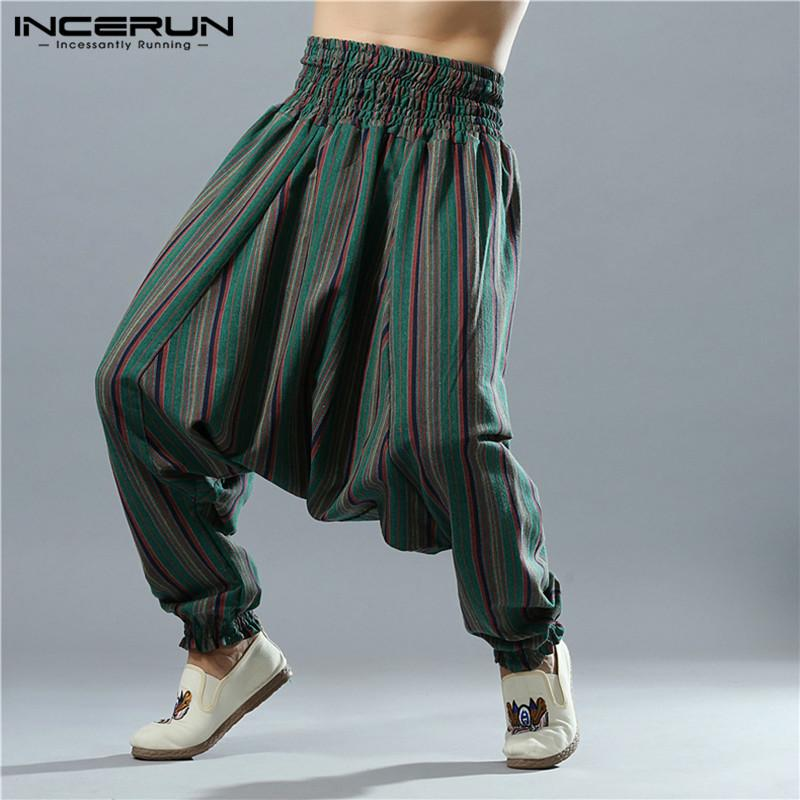 2c2c80f19b 2019 INCERUN Drop Crotch Harem Pants Men Striped Cotton Linen Loose ...