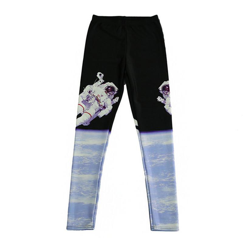DOUBCHOW Womens Astronaut Digital Print Leggings Pants Maiden Spandex Shiny Stretchy Leggings Costume Skinny Footless Plus Size