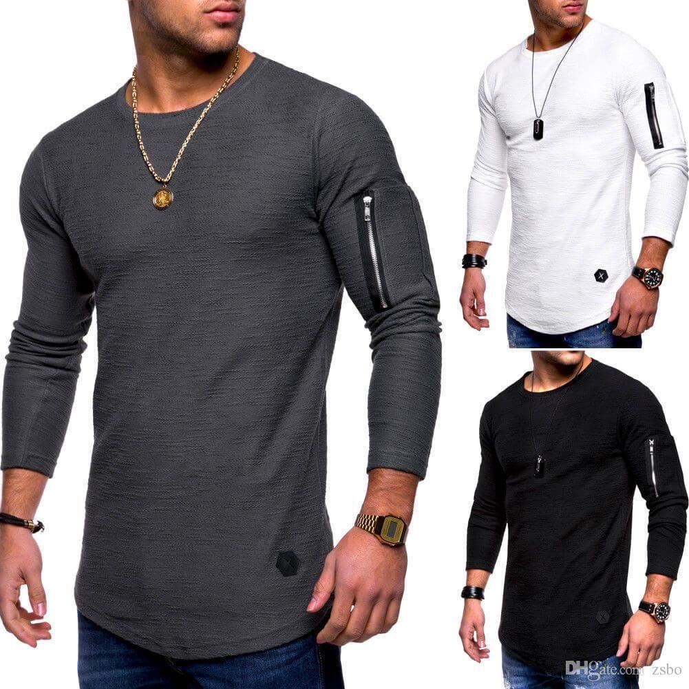 82ee225473da Fashion Men s Solid Color Round Neck Long-sleeved T-shirt Arm Zipper ...