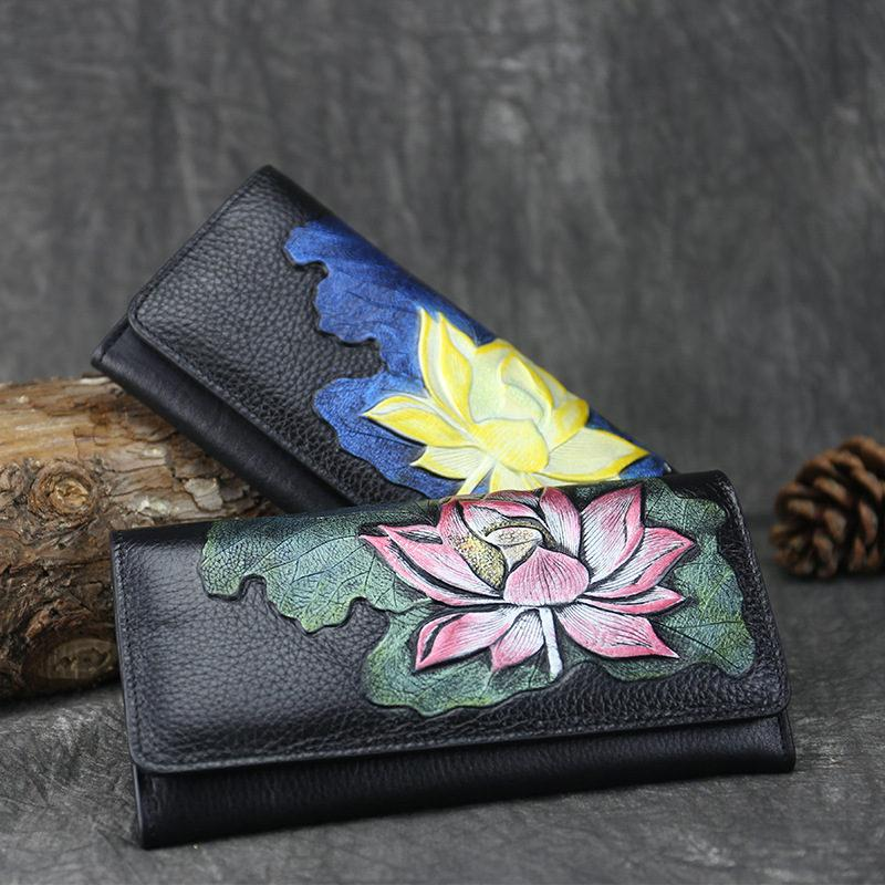 Chinese Style Lotus Long Women Wallets Lady Purses Female New Luxury Phone Tassel Coin Pocket Designer Full-Grain Leather Card Holder