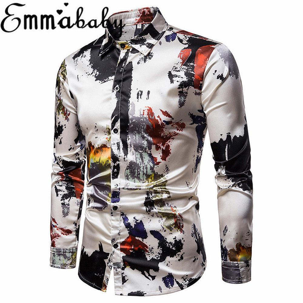 wholesale dealer 54099 d0abf Mode Lässig Trendy männer Luxus Slim Fit Floral Hemd Revers Langarm Hemden  Casual T Tops Business Formale Hemden
