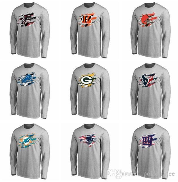 finest selection 68017 272c9 Atlanta Falcons Detroit Lions T Shirt Green Bay Packers Miami Dolphins  Patriots New York Giants Pro Line Ash True Colors Long Sleeve T-Shirt