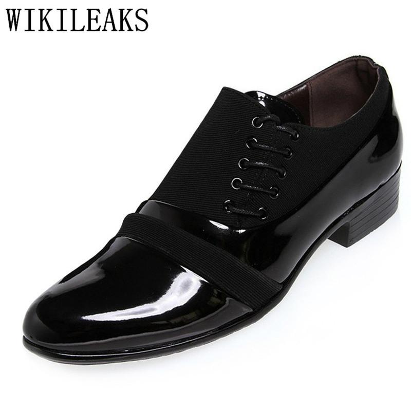 61451e0225e26 2018 High Quality Oxfords Shoes for Men Office Dress Shoes Patent Leather  Lace-up Black Wedding Shoes Man Italy Zapatos Hombre Online with  32.0 Pair  on ...