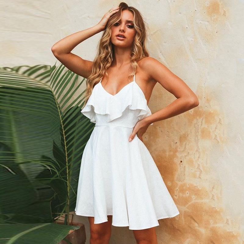 Le donne 2019 cinghie estive Beach Chiffon Dress Sexy scollo a V aperto indietro Lace Up Ruffles Mini abiti casual Dress