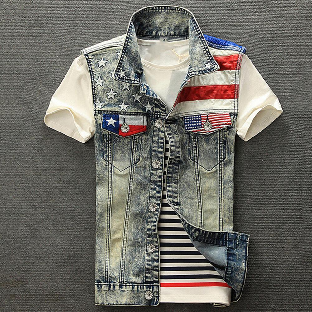 Mode Männer USA Flagge Patchwork Umlegekragen Denim Weste Jacke Cowboy Mantel neu