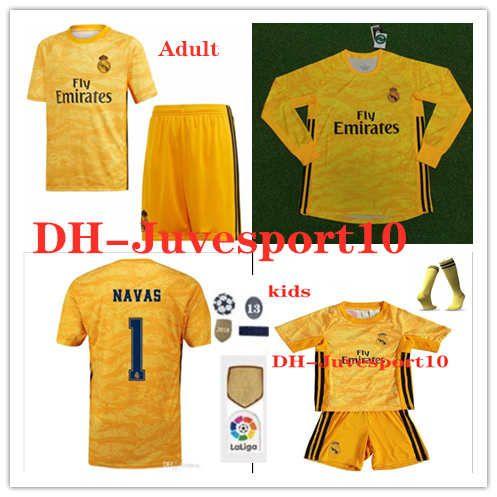d724c45853b16 Compre 2019 2020 Real Madrid Goleiro Camisas De Futebol Amarelo # 1 ...