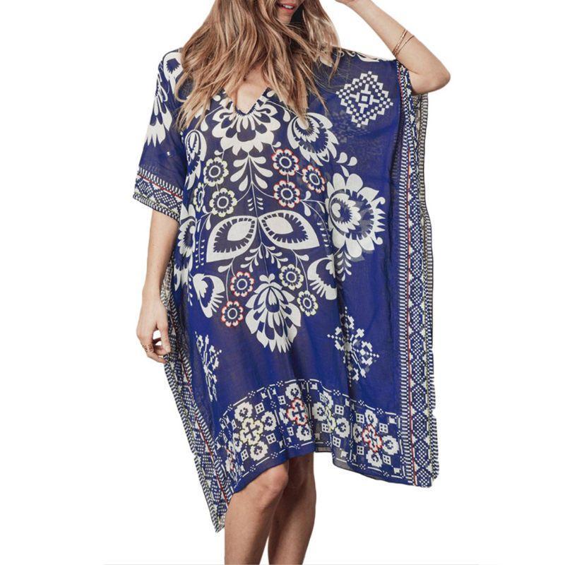 Blouses & Shirts Womens Summer Chiffon Deep V-neck Beach Dress Ethnic Retro Geometric Floral Printed Bikini Cover Up Semi Sheer Oversized Loose P