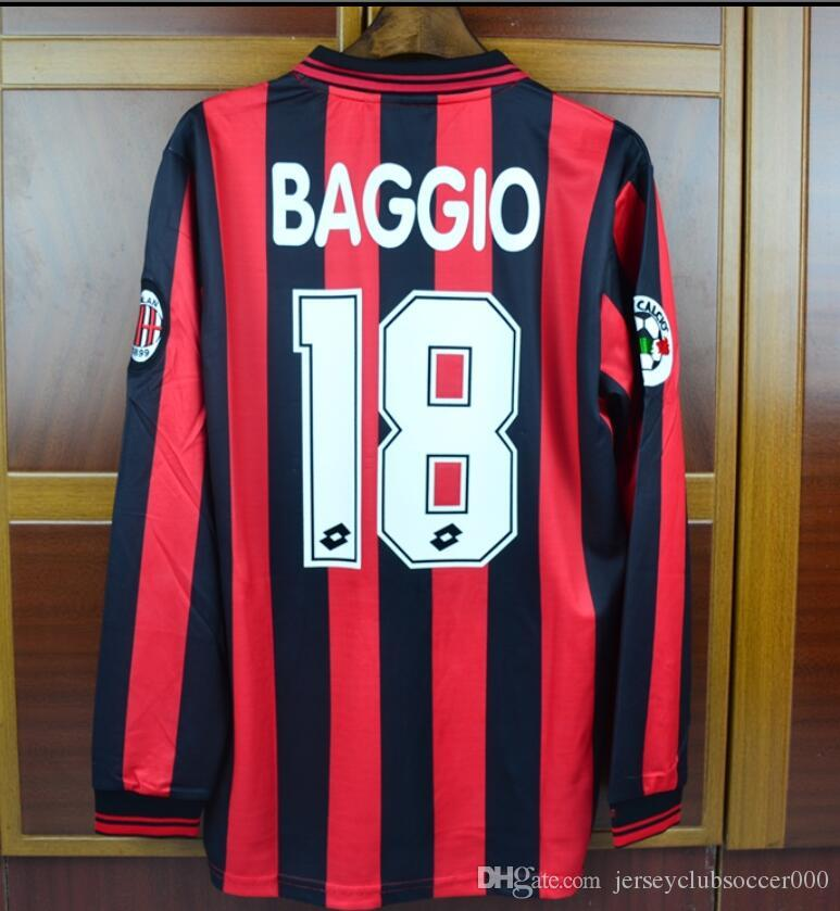 2019 96 97 Milan Home Long Sleeves Vintage Retro Jerseys Classic Sports  Jersesy Roberto Baggio Retro Football Shirt Camisa Camiseta From  Jerseyclubsoccer000 ... f4e502b72ff21