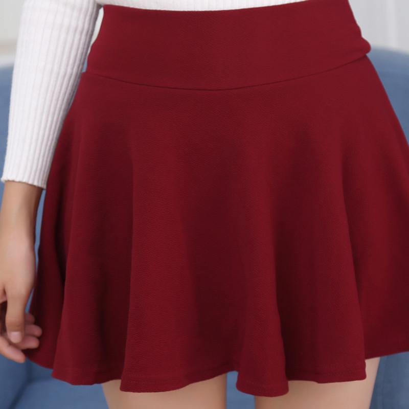 bba8e9bec Women's Skater Skirts Pleated Flared A Line Circle Stretch Waist Skater  Skirt Korean Mini Skirt Plus Size M-5XL