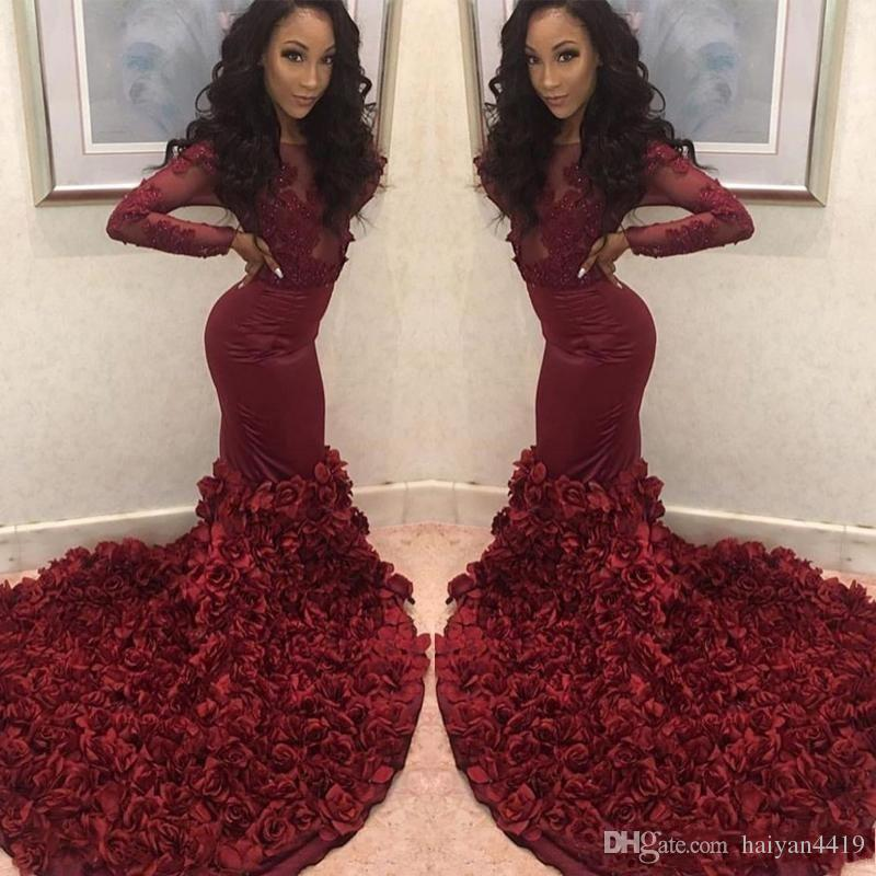 2019 Sexy Burgundy Mermaid Prom Dresses Sheer Neck Long Sleeves Lace Appliques Beaded Rose Flowers Evening Dress Party Pageant Formal Gowns