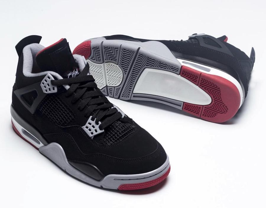 c9ce25ab67384d 2019 2019 Release Air Authentic 4 Bred Basketball Shoes Retro Black Cement  For Men IV Sports Shoes Grey Summit White Fire Red Sneakers 308497 060 From  ...