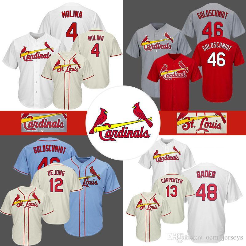 sale retailer 0bf96 7e4fe 46 Paul Goldschmidt Cardinals Baseball Jersey St. Louis cheap 4 Yadier  Molina 13 Matt Carpenter 48 Harrison Bader Jerseys blue red