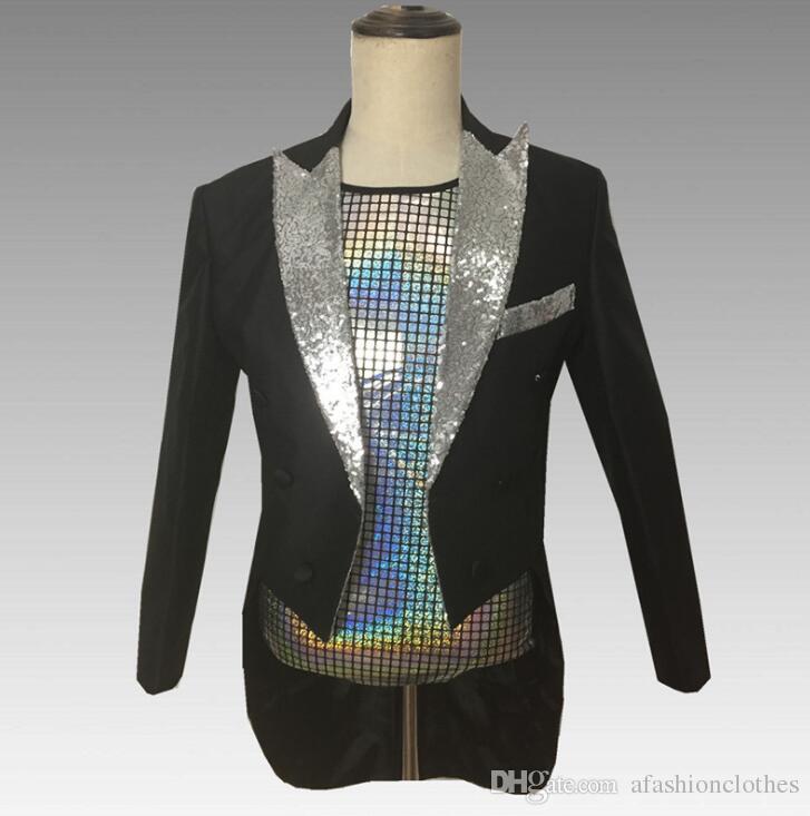 a64c164c7476 2019 Black Sequins Blazer Men Suits Designs Jacket Mens Stage Costumes Singers  Clothes Dance Star Style Dress Punk Masculino Homme From Afashionclothes,  ...