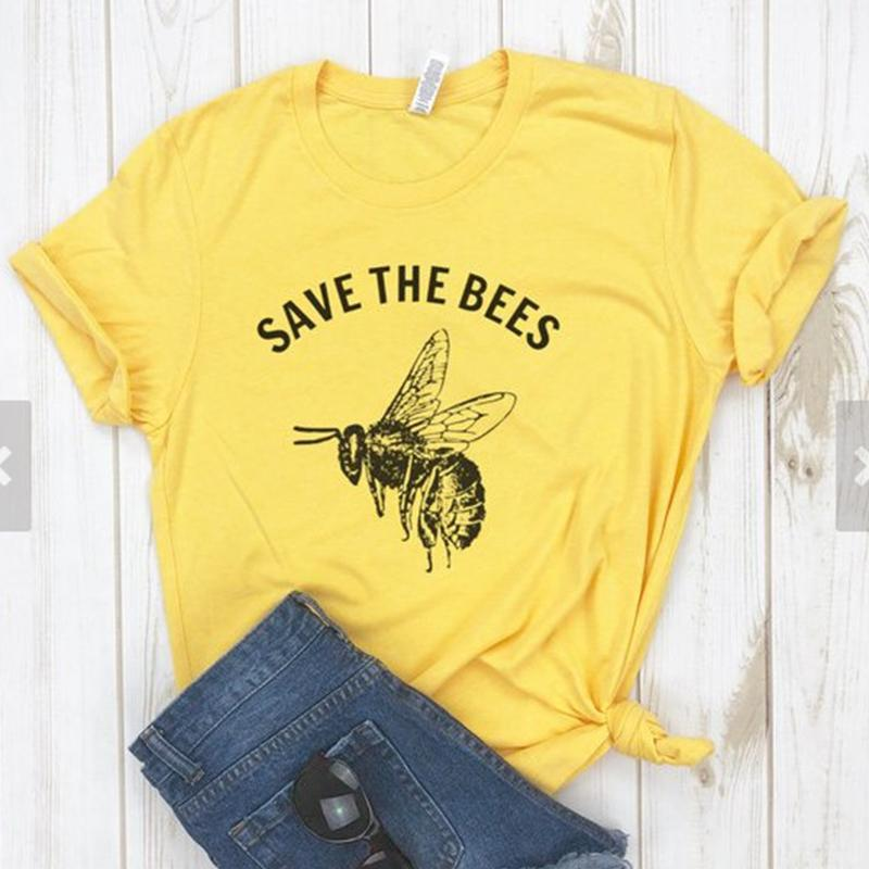 029ac717d Save The Bees Womens Shirts Streetwear Vintage Yellow Cotton T Shirt Women  O Neck Causal Graphic Tees Camisas Mujer Drop Ship Print Shirt Long Sleeve  Tee ...