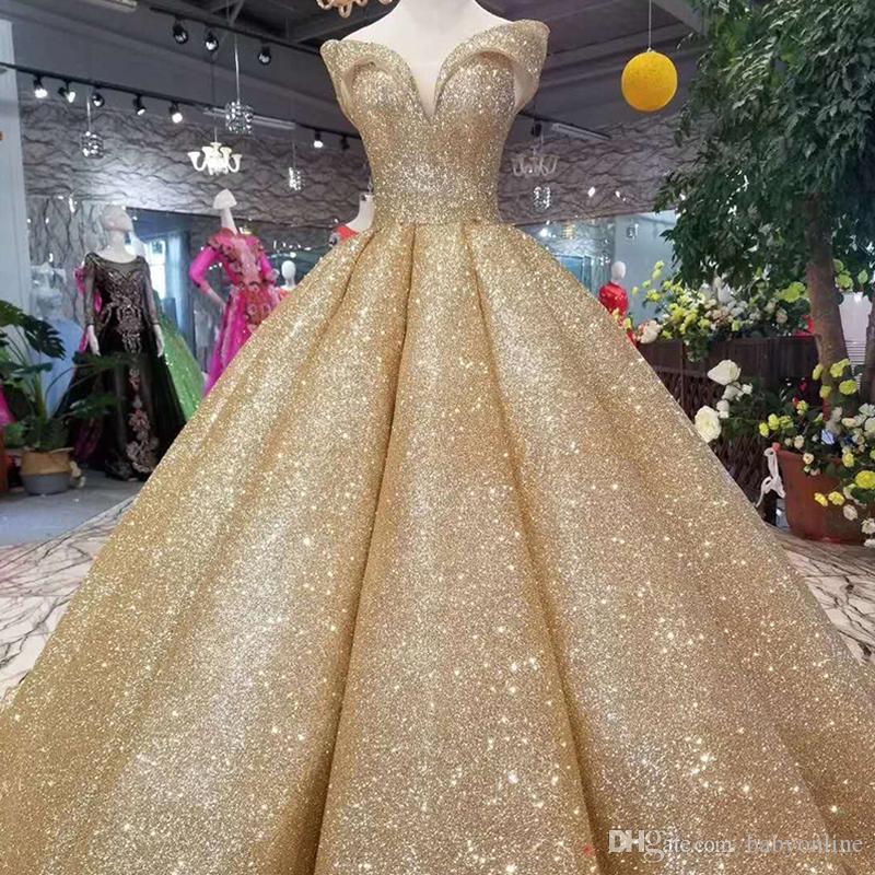 2019 Popular Reflective Dress Gold Sequins Ball Gown Quinceanera Dresses  Off Shoulder Gliter Curve Shape Long Evening Prom Dress Formal Cheap Dama  Dresses ... a3de1657f1be