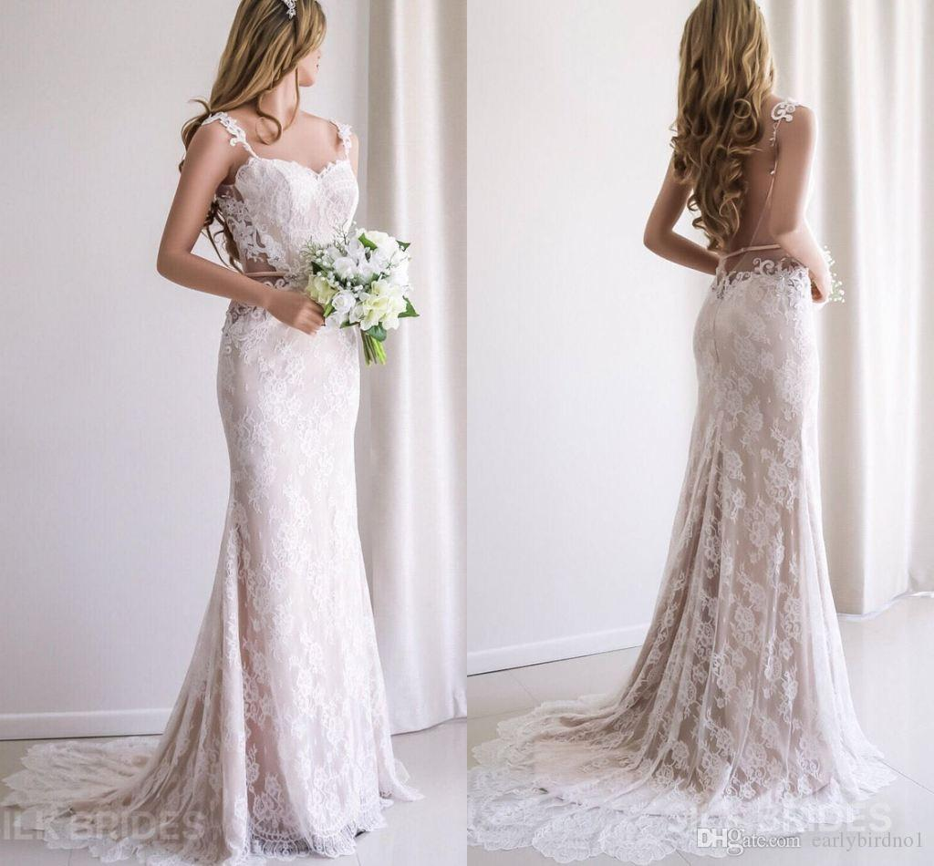 Sexy Lace Appliqued Backless Mermaid Bohemian Wedding Dress Vintage Champagne Full Lace Long Beach Boho Bridal Gown Plus Size