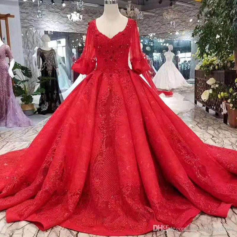 Red And White Ball Gown Wedding Dress: 2019 Newest Design Red Wedding Dresses Big V Neck Puffy