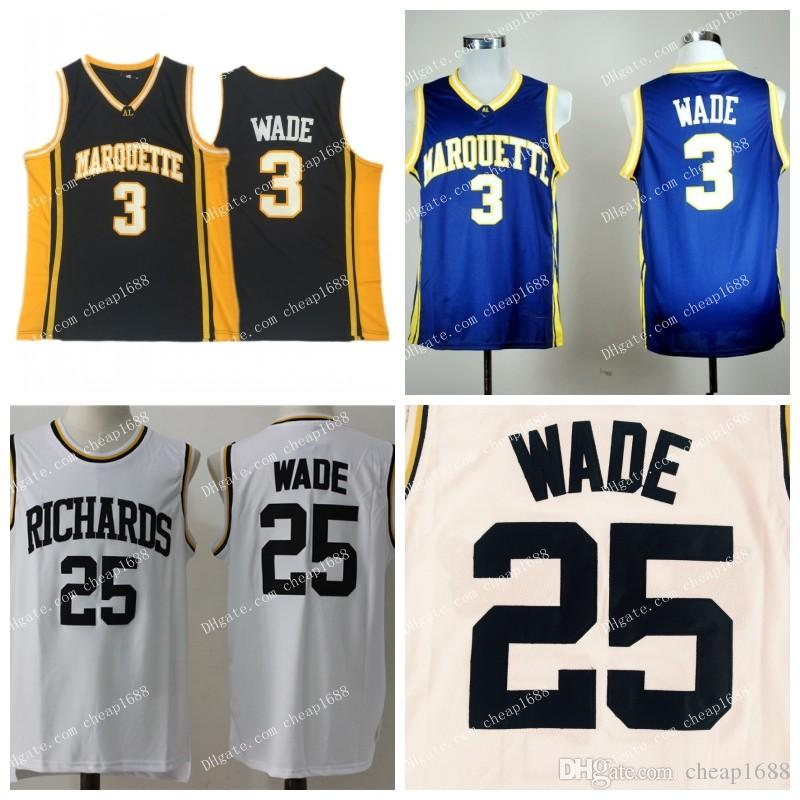 42be0a050 2019 NCAA Marquette Golden Eagles  3 Wade Jersey Blue Black College  Basketball  25 Wade Richards High School Stitched Dwyane White Jerseys From  Cheap1688