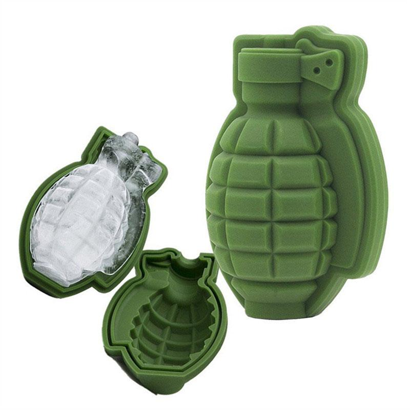 3D Grenade en silicone forme Ice Cube moule Plateau sorbetière Party Bar Drinks Whisky Ice Wine Maker DLH363