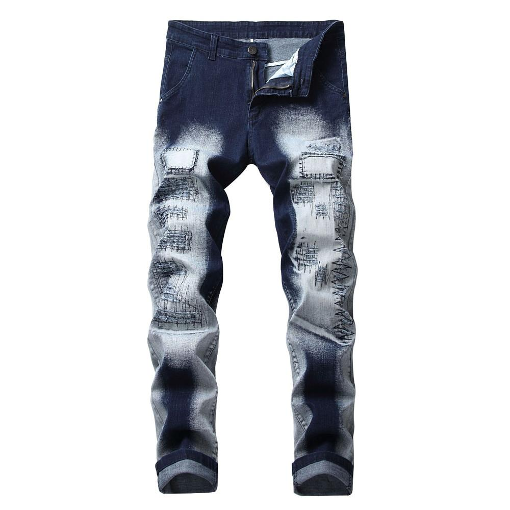 2019 Cotton Jeans Men Spring 2019 Men Clothes Patches Make Old Trend